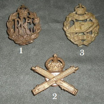 British WWI New Branch Cap Badges