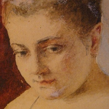 """Small Watercolor Portrait Of A Girl By A. Brams 5X3"""" - Visual Art"""