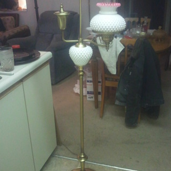peach blow hobnail floor lamp - Lamps