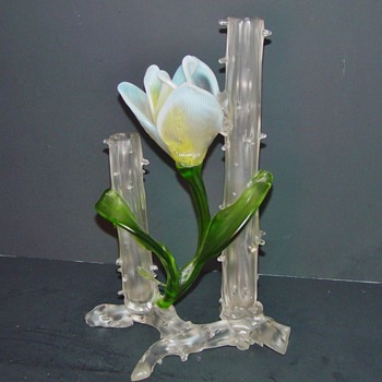 "Art Nouveau Kralik Applied Flower Satin Thorn Vase 11"" x 6"""
