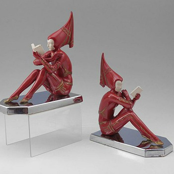 "More Art Deco Bookends, ""Contemplar"" by H. Fugere C. 1927"