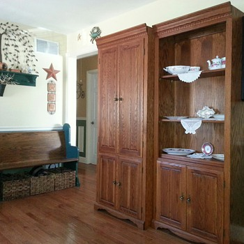Three Piece Oak Wall Display Cabinets - Furniture