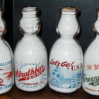 Colorful variety of milk bottles from different categories.......