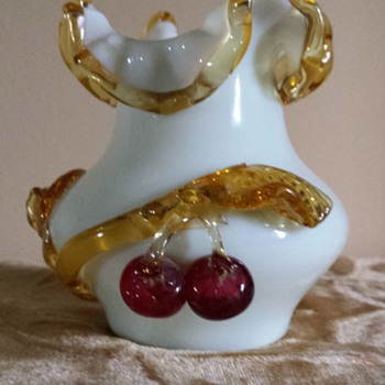 Stevens & Williams applied fruit vase