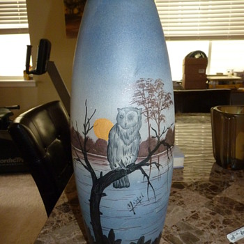 "Michel Owl vase. 18"" tall! 1920's-30's - Art Glass"