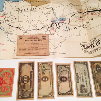 Military map,  Japanese Government money and War Ration Book - Paper