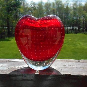 Heart Shaped Art Glass Vase - Art Glass