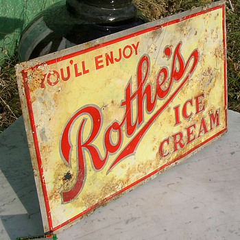 Rothe's Ice Cream Sign Old  New Lisbon WI Company - Signs
