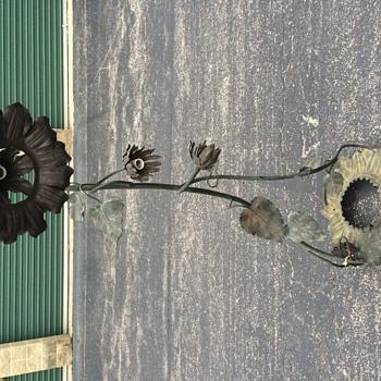 Antique art nouveau sunflower standing lamp.