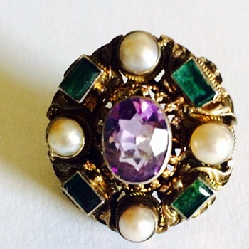 Antique Amethyst  Pearl and gemstone ring - Fine Jewelry
