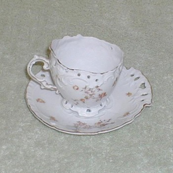 Victoria Austria Reticulated demitasse cup &amp; saucer set