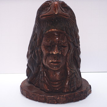 "Thomas B Maracle, Carving post 2 of 3 ""Bust""XX Century"