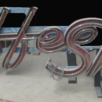 Vintage 1950's COFFEE SHOP Antique Neon Sign / Channel Lettering 2-pieces - Signs