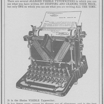 1902 Sholes Visible Typewriter Advertisement - Advertising