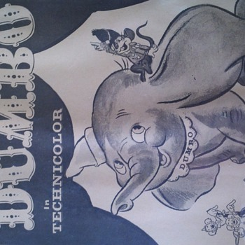 1940&#039;s black and white Dumbo poster - Movies