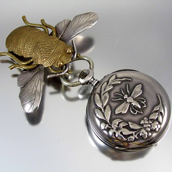 Antique Art Nouveau sterling silver pocket watch and pin - Pocket Watches