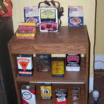 oil cans and spark plugs