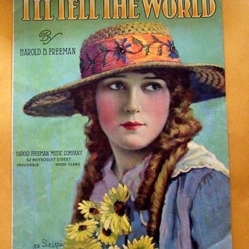 "1919 SHEET MUSIC ART ""ACTRESS MARY PICKFORD"" FULL COLOR LITHO"