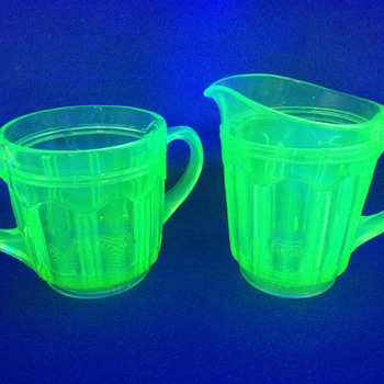 "Vintage Anchor Hocking Vaseline Glass Matching 5"" Pitcher & Creamer / Sugar Container"
