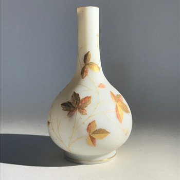 Harrach Cream Glass Vase with Enameling
