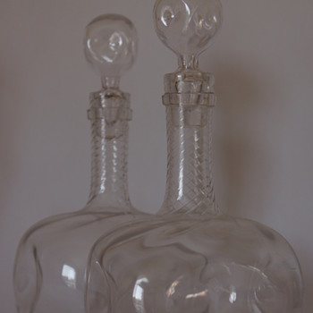 A pair of Wrythen Decanters.