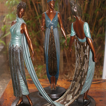 "Erte 'Three Graces"" Bronze Sculpture - Art Deco"