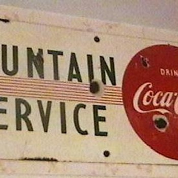 1950s Porcelain Coca-Cola Fountain Sign - Coca-Cola