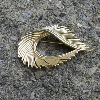Trifari Feather Brooch - Costume Jewelry