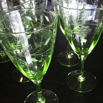 Green Depression Grape Etched Stemware