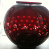 LARGE RED GLASS OPTICAL BOWL