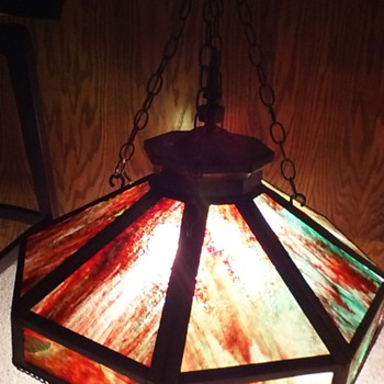 Harvey Hubell Pat 1897 Tiffany like Hanging Brass and Stain Glass Light - Lamps