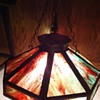 Harvey Hubell Pat 1897 Tiffany like Hanging Brass and Stain Glass Light