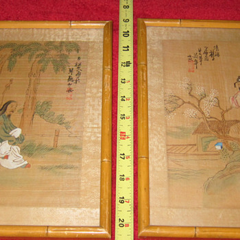 Matching Pair of CHI CHANG HOU Original Chinese Watercolor on Silk