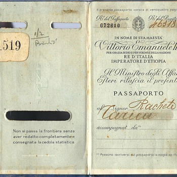 1938 passport - Italian occupation Rhodes Island - Paper