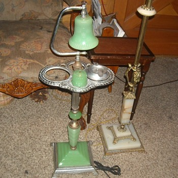 Jadite Smoking Stand with Lamp 1920s/1930s - Tobacciana