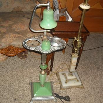Jadite Smoking Stand with Lamp 1920s/1930s - Tobacciana
