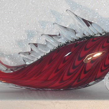 "Art Glass Fish ~ Red & Black ~ 13"" - Art Glass"