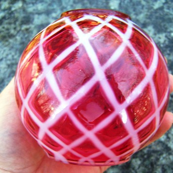 Fenton Cranberry Diamond Optic Ivy Ball Vase