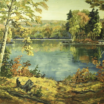 "Kaye Stother Oil Painting on Canvas""Autumn Scene""20 Century - Visual Art"