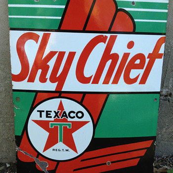 1950 Texaco Sky Chief Pump Sign - Petroliana
