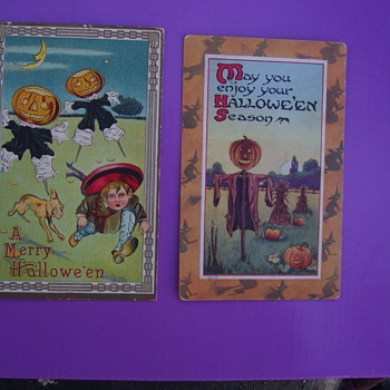 2 HALLOWEEN POSTCARD PUMPKIN-HEADS 1912 & 1914 mailed with )
