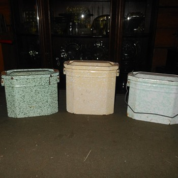 Trio of French Graniteware Lunch Pails - Kitchen