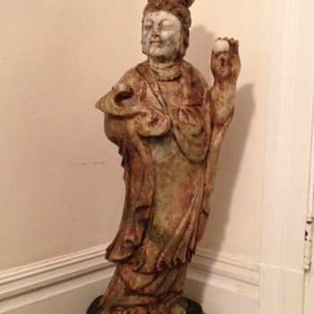 standing female jadeite Buddha  32 inches tall