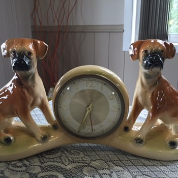 Jema Holland Large Twin Boxer Dogs Mantle Clock numbered (463) - Clocks