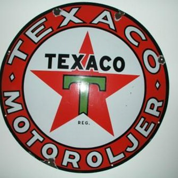 "Old Norwegian Texaco Sign, ap. 1930, 25,6"", Porcelain on Steel - Petroliana"