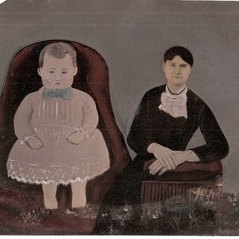 19th century Folk Art Painted Tintype - Photographs