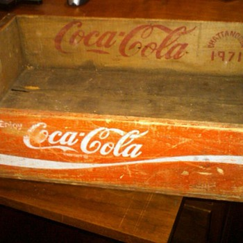 1971 wooden coke crate from chattanooga - Coca-Cola