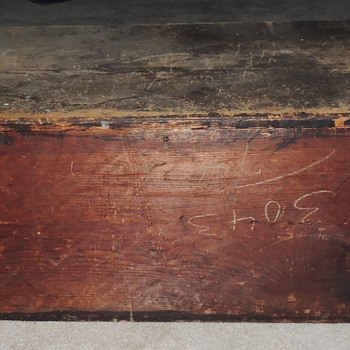 Early American Blanket Chest - Pine in Red/Brown Paint -Signed w/ Provenance