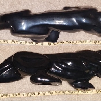 "26"" Long Ceramic Black Panther Statue"
