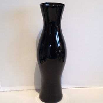 Vintage black glass vase